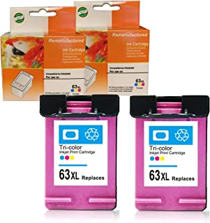 Ninjatoner Re-Manufactured Ink Cartridge Replacement for HP 63XL Used in Envy 4520 4516 4512 4516 Officejet 3830 3833 4650 4655 5220 5230 5252 5264 Deskjet 1112 2130 3630 3633 (Color, 2 Pack)