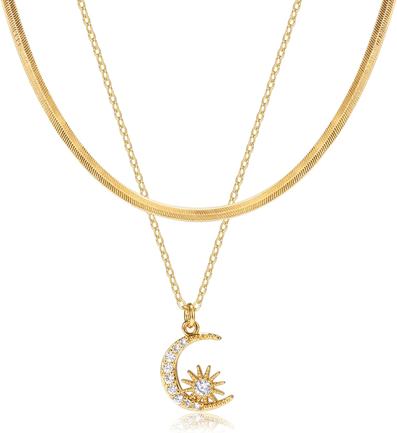 Gold Initial Necklaces for Women Girls, 14K Gold Plated Dainty Layering Snake Bone Choker Link Chain Necklace Personalized Sun Moon and Star Initial Layered Gold Necklaces for Women