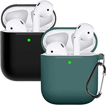 Amazon Com Compatible With Airpods Case Cover Silicone Protective Skin For Airpods Case 2 1 2 Pack Black Midnight Green Electronics