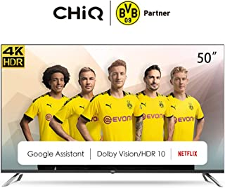 CHiQ Televisor Smart TV LED 50 Pulgadas, 4K UHD, HDR10/HLG, Android TV 9.0, WiFi, Bluetooth, Google Play Store, Google Assistant, Youtube, Netflix, Prime Video, 3 x HDMI, 2 x USB - U50H7A