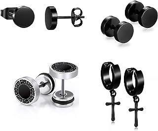 4 accoppiamenti orecchini in acciaio inox d'acciaio inossidabile 8 mm orecchini neri orecchini orecchini orecchini orecchi...