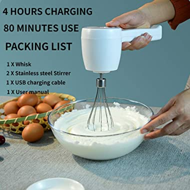 Hand Mixer, Cordless Hand Mixer, Hand Mixer Electric, 5-speed Usb Rechargeable with Stainless steel Mixer Whips, White
