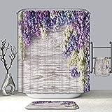 Lila Duschvorhang, Scheunentür, Holzdruck, Lavendel, lila Blume, Badezimmerdekoration