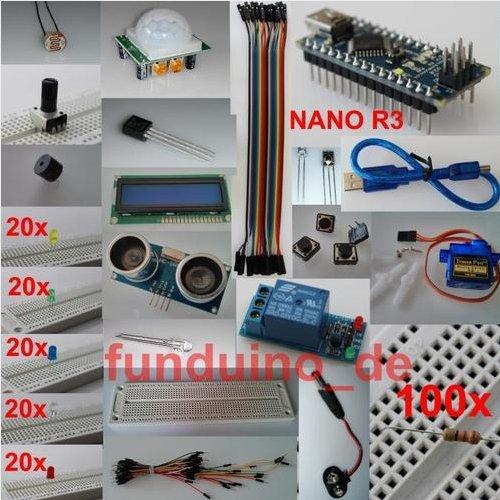 Kit / Set für Arduino mit NANO R3 Mikrocontroller und viel Zubehör - Lernset