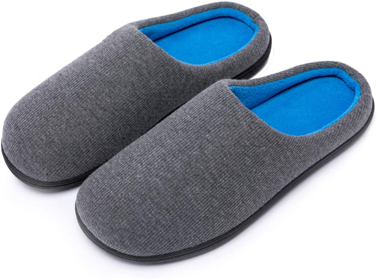 Kuzima Men's and Women's Memory Foam Slippers Indoor Outdoor Anti-Slip House shoes Two-Tone Cozy Plush Fleece Lined