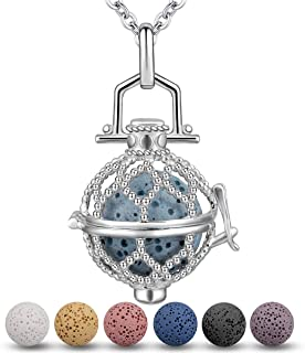 Lava Stone Essential Oil Diffuser Necklace for Women Aroma Therapy Locket Pendant Jewelry Set, 5 PCS Rocks