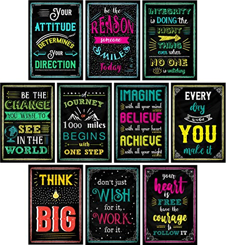 Motivational Posters for Classroom | Chalkboard Style | Inspirational Quotes Perfect for Teachers, Students, Classroom Decorations, Home, Office | Set of 10 Creative & Inspirational Designs
