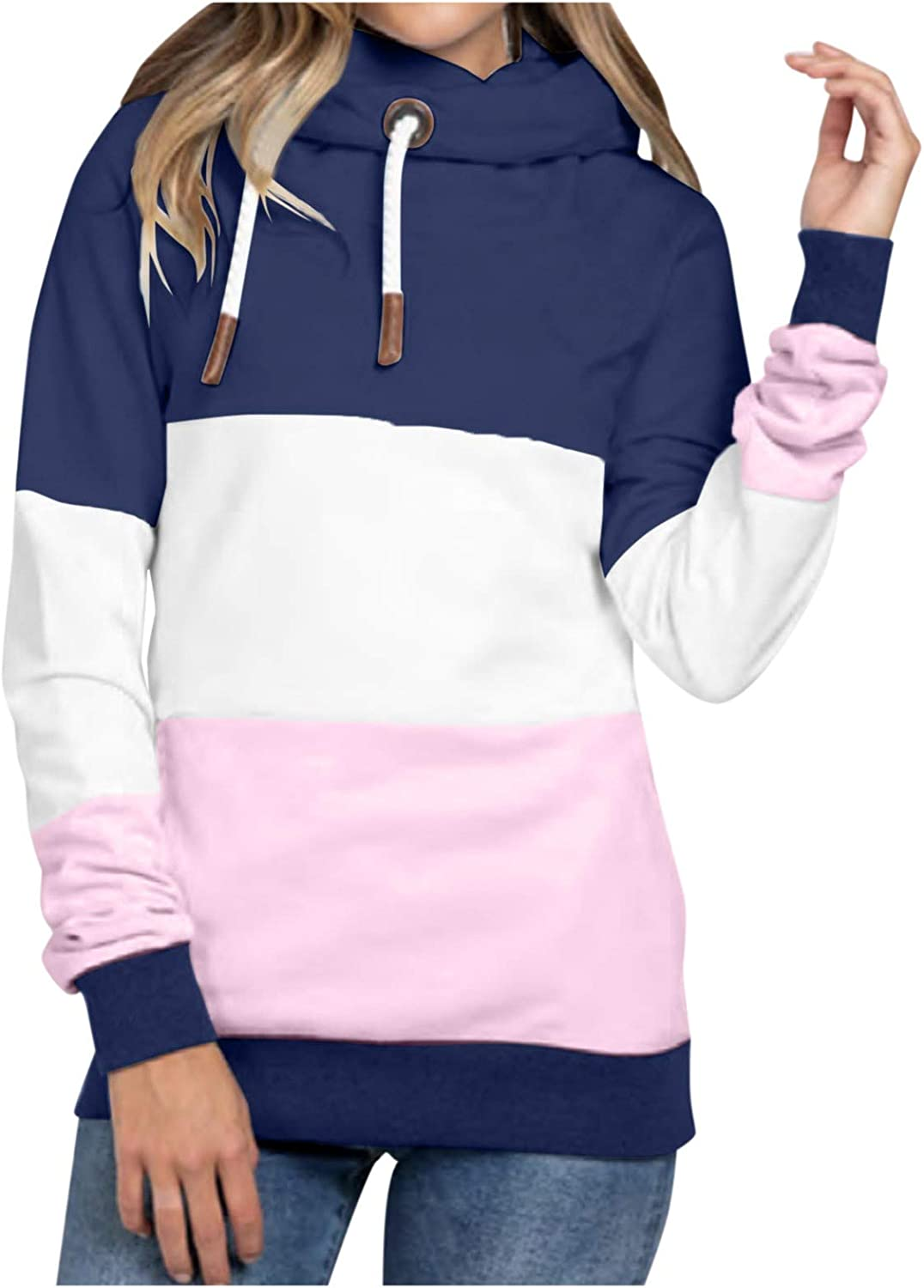 AODONG Women Sweatshirts Pullover,Womens Color Block Pacthwork Sweatshirt Casul Oversized Loose Fit Hooded Pullover