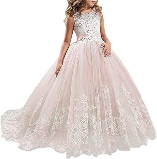 NNJXD Niñas Bordado De Encaje Flor De La Boda Fiesta De Cumpleaños Princesa Vestido de Cola Larga