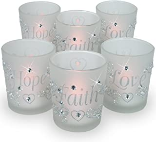 BANBERRY DESIGNS Decorative Glass Votive Holders - Faith Hope Love Frosted Glass Candle Holders - Silver Glitter Hearts & Crystals - Set of 6 - Six Flameless Flickering LED Candles Included