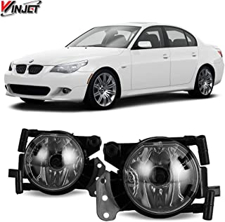 Fog Lights Compatible With 2004-2008 BMW E60 5 Series | Factory Style Polycarbonate Resin Clear Driving Running Foglight Foglamp Lamps LED Super Bright by IKON MOTORSPORTS