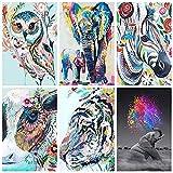 ZHJJD Búho Tigre Elefante Animales en Canva Cuadro de Arte de Pared Estética Moderna Pintura al óleo Arte Hogar Sala de Estar Dormitorio Decoración 20x30cmx6 Sin Marco