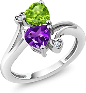 Sterling Silver Green Peridot and Purple Amethyst Women's Ring 1.51 cttw Heart Shape Gemstone Birthstone Available 5,6,7,8,