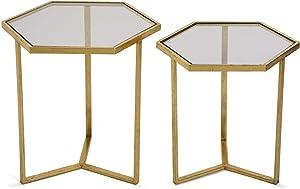VERSA - Set di 2 tavolini in Vetro Hexa