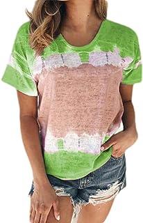 Loyomobak Women's Tie Dye Print Short Sleeve Crewneck Tops Print Blouse T Shirts