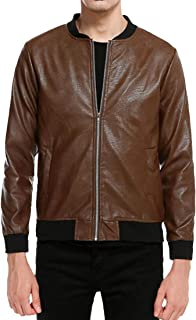 Fensajomon Men Zip Front Pu Leather Stand Collar Pure Color Casual Coat Jacket Outerwear