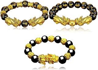 BEAUTEVER Feng Shui Lucky Nafu Wealth Bracelet Pi Xiu Pi Yao Black Beads Obsidian Friendship Charm Bracelet for Men Women Adjustable Set