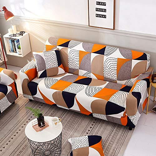 WXQY Fundas de sofá elásticas geométricas Fundas de sofá elásticas para Sala de Estar Protector de Muebles sofá Toalla Funda de sofá A12 3 plazas
