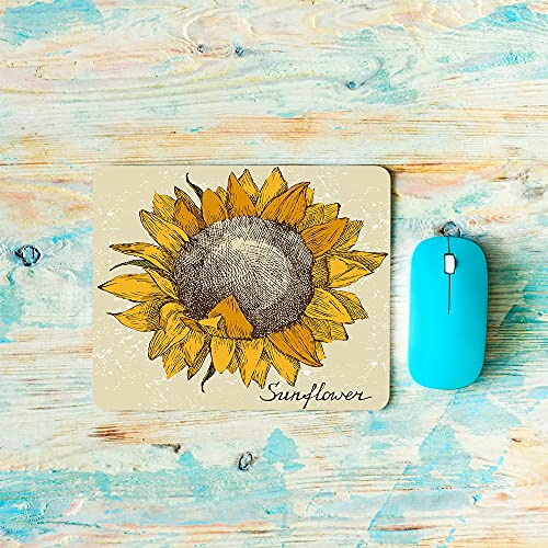 AOYEGO Sunflower Mouse Pad Grid Mesh Tartan Grain Leaf Floral Plant Nature Striped Round Circle Gaming Mouse Pad Non-Slip 7.9X9.5 Inch Rubber Base for Laptop Keyboard Computer Office