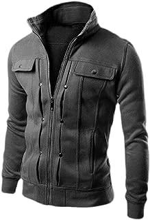 Men Autumn Sports Sweatshirts Tops Front Zipper Jacket Coat