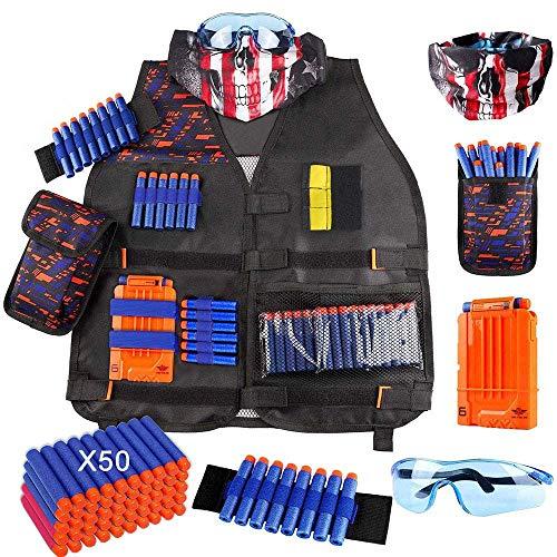 OFUN Táctico para Niños 56pcs, Chaleco Táctico para Pistolas Nerf N-Strike Elite + 50 Dardos + 1 Pañuelos Bandanas + 1 Protección Gafas + 1 Clips de liberación rápida + 1 Pulsera + 1 Bolsa de Dardos