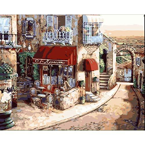 XIAOJIJI Pintura por Número DIY Pintura Al Óleo Lienzo Pintura por Números para Adultos Niños Camino De La Tienda Retro Sin Marco 16X20 Inch