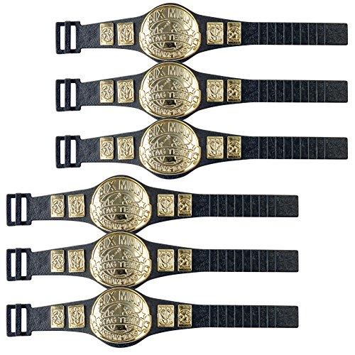 Set of 6 Six Man Tag Championship Belts for Wrestling Action Figures
