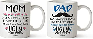 Christmas Dad and Mom Family Gift Bundle of 2 Gifts For Dad Mom From Daughter Son Birthday Gift Mug Funny Coffee Mugs For Father & Mother Daddy Presents Cup