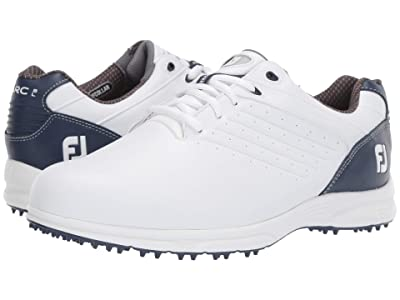 FootJoy ARC SL Spikeless Plain Toe w/ Microperfs (White/Navy) Men