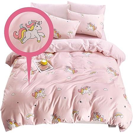 Kisdear Girls Alpaca Bedding Set Twin Pink Duvet Cover Twin Toddlers Llama Bedding Twin Set Cotton Cute Animal Cartoon Duvet Covers Child Pink Bedding Sets Twin 3 Piece