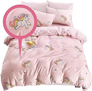 ELLE & KAY Unicorns Duvet Cover Set/Unicorn Kids Bedding/ 100% Cotton Toddler Twin Zipper Bedding/Girl's Reversible Comforter Cover/ 3 Piece Twin Duvet Cover Set.