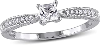 Created White Sapphire 1/4 Carat (ctw) Princess Cut Engagement Ring with Diamonds in Sterling Silver