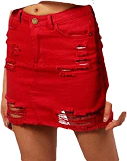 Womens Sexy Washed High Waisted Ripped Hole Denim Bodycon Short Skirt