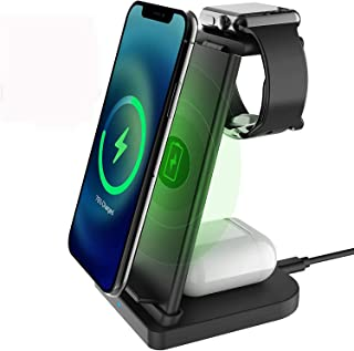 3 in 1 Wireless Charger Stand Fast Qi-Certificated Wireless Charging Station for Apple Watch SE/6/5/4/3/2,Airpods Pro/2,iP...