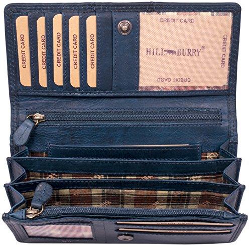 Hill Burry Portafoglio Donna | Portamonete in vera Pelle di Classe | Portafoglio signore in pelle di qualità con un aspetto vintage | Porta Carte di Credito - Portafogli | Porta Banconote, blu