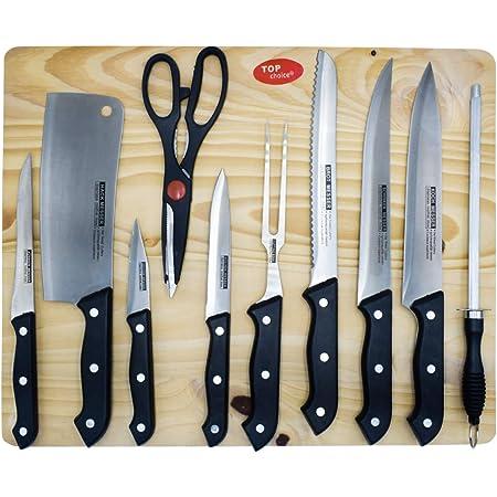 Top Choice 2415-29 Juego de Cuchillos de Acero Inoxidable con Tabla para Picar, Afilador y Tijeras 11 Piezas color Acero