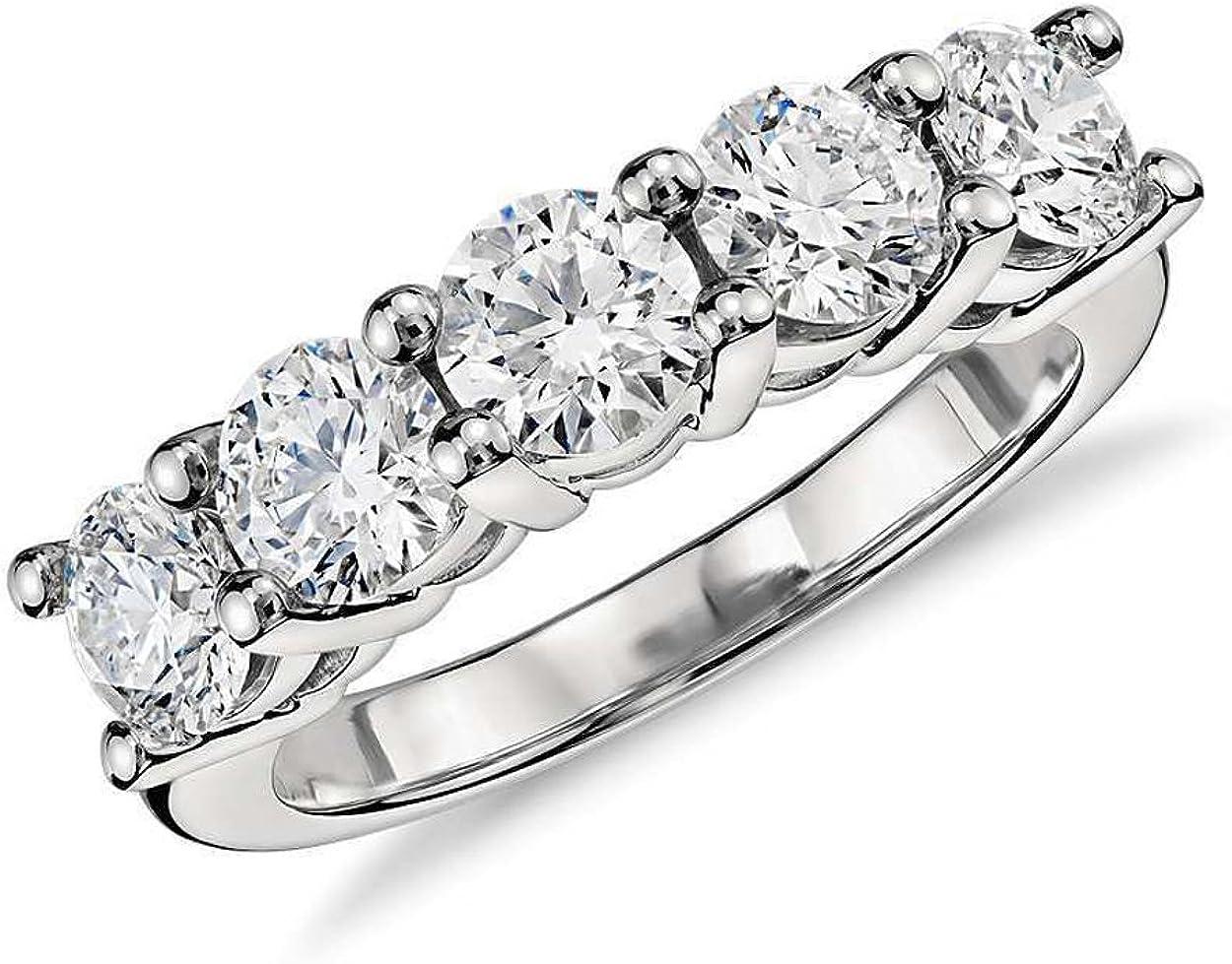 JewelMore 1ct Five Stone Diamond Band 14K White Gold