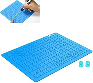 3D Pen Pad, 3D Pen Drawing Tool Silicone Pad, Silicone Pad con plantilla básica 2pcs Aislamiento Silicona Finger Caps Kit