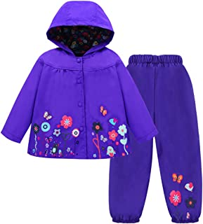 Toddler Girls Raincoat Waterproof Rain Jacket Pants Suit with Hooded