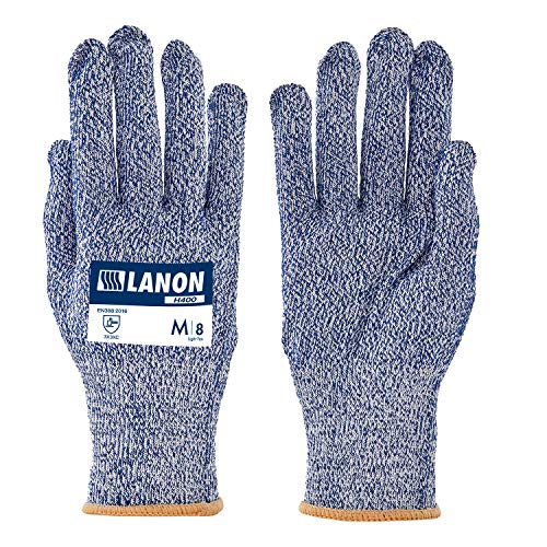 LANON Cut Resistant Gloves High Performance Level C, Food Grade, Safety Kitchen Cuts Gloves, Anti-abrasion, Breathable, Nylon and HPPE Liner, Silicone free, CE Certificated, Large