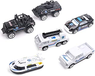 VAlinks Diecast Police Vehicles Toy 6 in 1 Assorted Metal Model Cars for Kids Boys Party Favors Cake Decorations Topper Birthday Gift