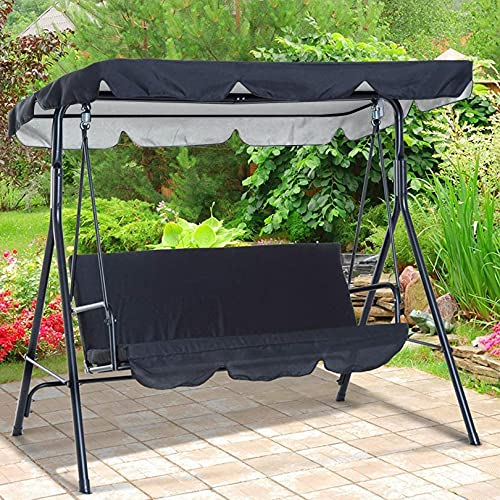 Replacement Canopy Swing Seat Chair,Waterproof/UV Resistant Swing Canopy Cover, Cover Patio Hammock Cover Top Garden Outdoor-Black