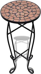 vidaXL Mesa Auxiliar Mesa para Plantas de Mosaico Color Terracota