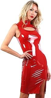 MISS NOIR Dames wetlook sexy jurk S-3XL mouwloos vinyl mini-jurk sexy glans lak-lederlook party clubwear