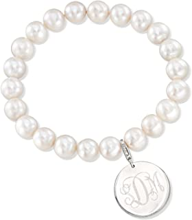 pearl bracelet with initial charm