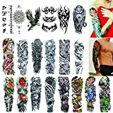Full Arm Temporary Tattoos 20 Sheets,Waterproof Removable Tattoo Arm Sleeves Extra Large Tattoos Body Stickers for Adults Men Women Kids