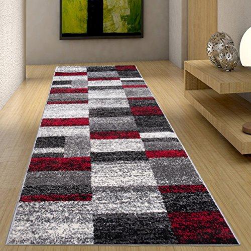 Alfombra De Pasillo Moderna Colección Twist - Color Antracita Gris Rojo De Diseño Cuadrado - Mejor Calidad - Diferentes Dimensiones S-XXXL 80 x 150 cm