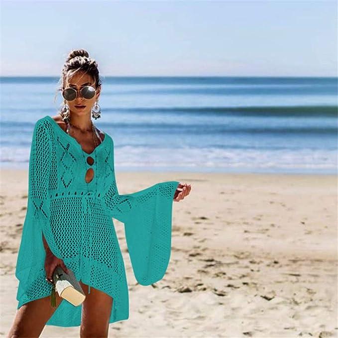 wangjian& Crochet Beach Cover Up, Vestido túnica Largo Mujer ...