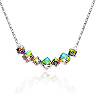 Women's Square Cube Mystic Topaz Rainbow Crystal Magic Color Changing 7 Stones Necklace Platinum Plated GR128