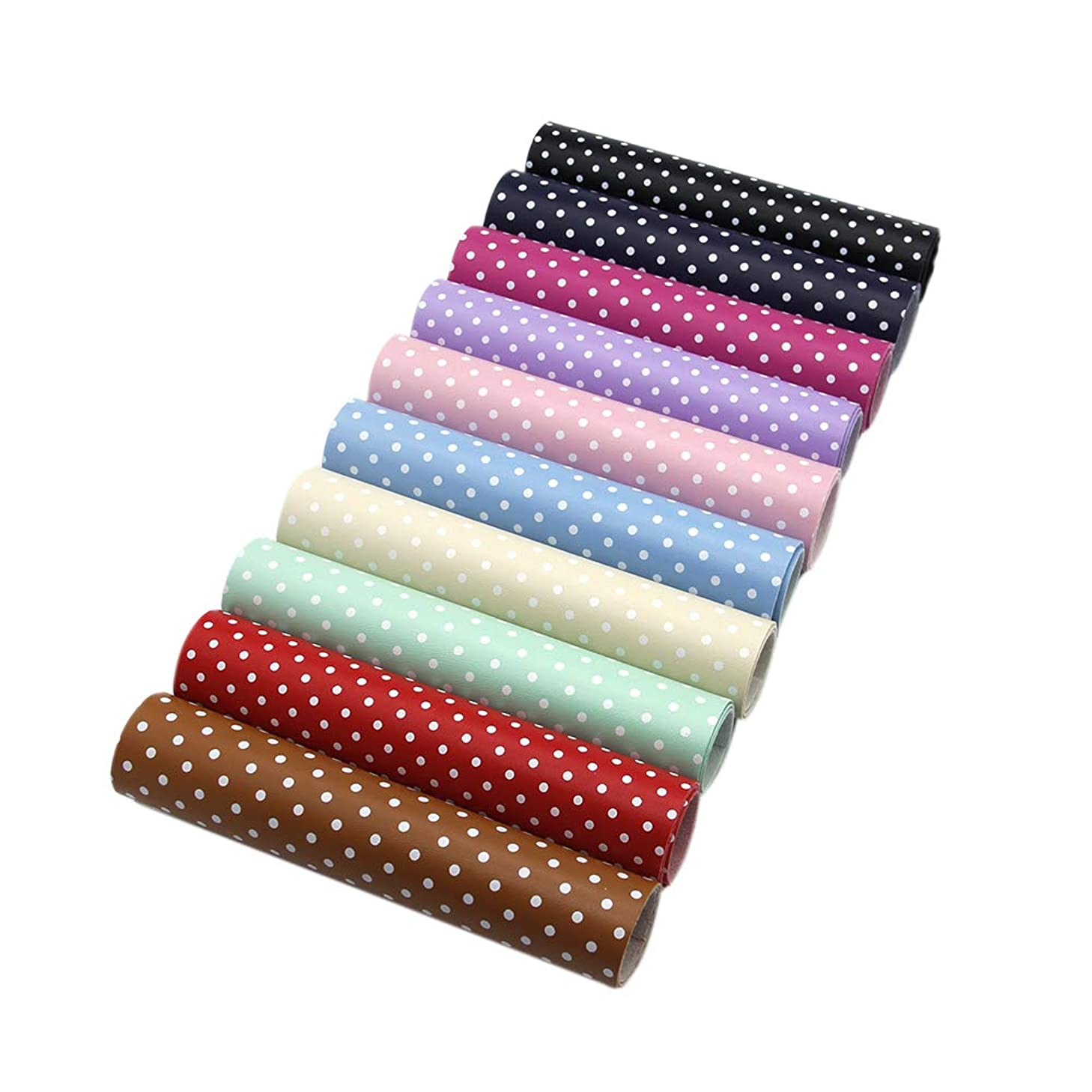 David Angie Solid Color Dots Printed Faux Leather Fabric Sheet 10 Pcs 8